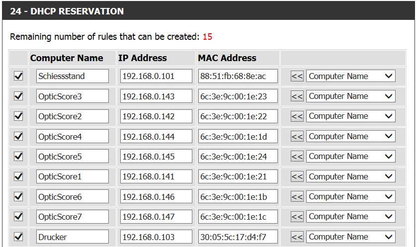 DHCP Reservierung